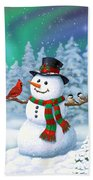Sharing The Wonder - Christmas Snowman And Birds Beach Towel by Crista Forest