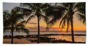 Sharks Cove Sunset 4 - Oahu Hawaii Beach Towel