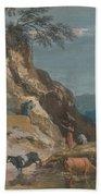 Sheep And Three Peasants Below A Cliff Beach Towel