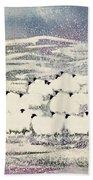 Sheep In Winter Beach Towel