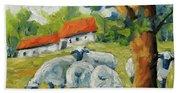 Sheep On The Farm Beach Towel
