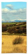 Sheep On The Hillside Beach Towel
