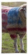 Sheep With American Flag Beach Towel by Garry Gay