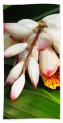 Shell Ginger Flowers Beach Towel