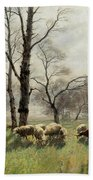 Shepherd With His Flock In The Evening Light Beach Towel