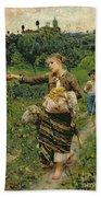 Shepherdess Carrying A Bunch Of Grapes Beach Towel