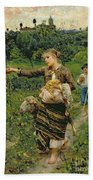 Shepherdess Carrying A Bunch Of Grapes Beach Sheet