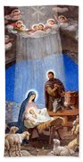 Shepherds Field Nativity Painting Beach Towel by Munir Alawi