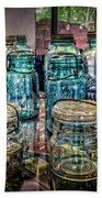 Shiny Glass Jars Beach Towel