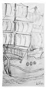 Ship At Sea Beach Towel