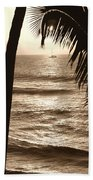 Ship In Sunset Beach Towel