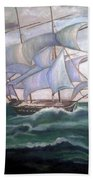 Ship Out To Sea Beach Towel