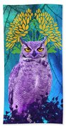 Owl At Night Beach Towel