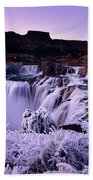 Shoshone Falls In Winter Beach Towel