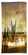 Shrimp Boat In Charleston Beach Towel