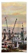 Shrimp Boats Watercolor Beach Towel