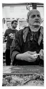 Shucking Oysters 2 - French Quarter- Bw Beach Towel
