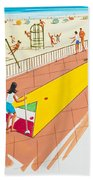Retro Shuffleboard Art From The 1960's Beach Towel