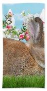 Shy Brown Dwarf Bunny Portrait Beach Towel