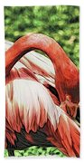 Shy Flamingo Beach Towel