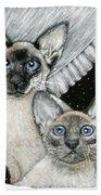 Siamese Cats Beach Towel