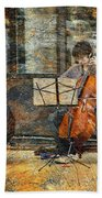 Sidewalk Cellist Beach Towel