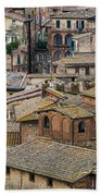 Siena Colored Roofs And Walls In Aerial View Beach Towel