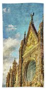 Siena Duomo Facade In The Sunset Beach Towel