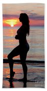 Silhouette Of A Fit Woman  Beach Towel