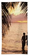 Silhouetted Couple Beach Sheet