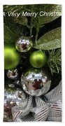 Silver And Green For Christmas Beach Towel