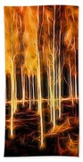 Silver Birches Flaming Abstract  Beach Towel