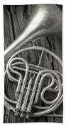 Silver French Horn Beach Towel