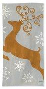 Silver Gold Reindeer Beach Towel