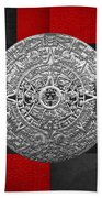 Silver Mayan-aztec Calendar On Black And Red Leather Beach Towel