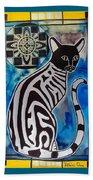 Silver Tabby With Mandala - Cat Art By Dora Hathazi Mendes Beach Towel