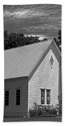 Simple Country Church - Bw Beach Towel