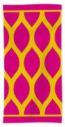 Simplified Latticework With Border In Mustard Beach Towel