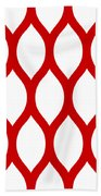 Simplified Latticework With Border In Red Beach Towel