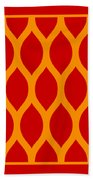 Simplified Latticework With Border In Tangerine Beach Towel