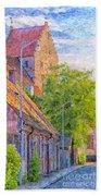 Simrishamn Street Scene Digital Painting Beach Towel