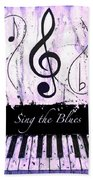 Sing The Blues Purple Beach Towel