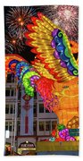 Singapore Chinatown 2017 Lunar New Year Fireworks Beach Towel