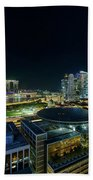 Singapore Modern Skyline By The River At Night Beach Towel