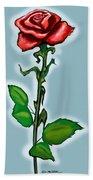 Single Red Rose Beach Towel