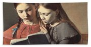 Sisters Reading A Book Beach Towel