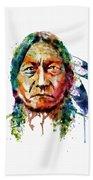 Sitting Bull Watercolor Painting Beach Towel