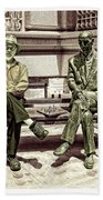 Sitting Next To A Statue Of Jan Karski Legendary Polish Underground Courier    Beach Towel