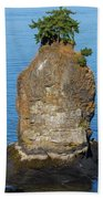 Siwash Rock By Stanley Park Beach Sheet
