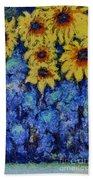 Six Sunflowers On Blue Beach Towel